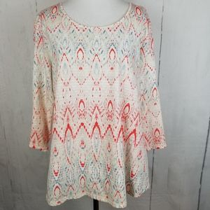 Chico's Beige/Pink Boho Print Knit Top Size 2/Lg